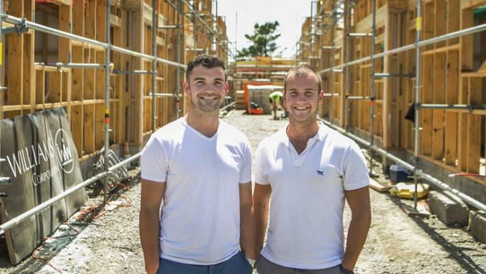 Matthew Horncastle (left), seen with business partner Blair Chappell, says it's unfair to single out Kiwibuild.