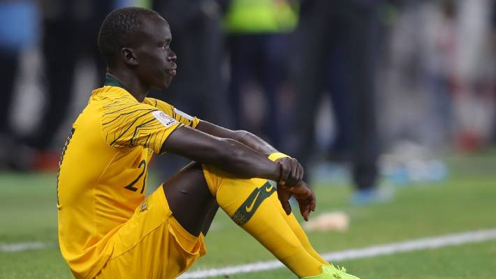 Awer Mabil in Australia reacts after his team loses the AFC Asian Cup quarter-final.