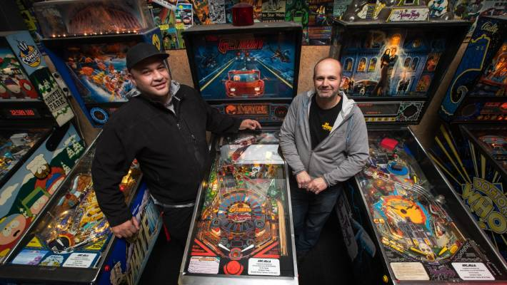 Director of Pintech Iain Jamieson and Arcadia owner Matthew Glanville. Glanville said he hoped to expand on the section of vacant land next to the arcade bar,
