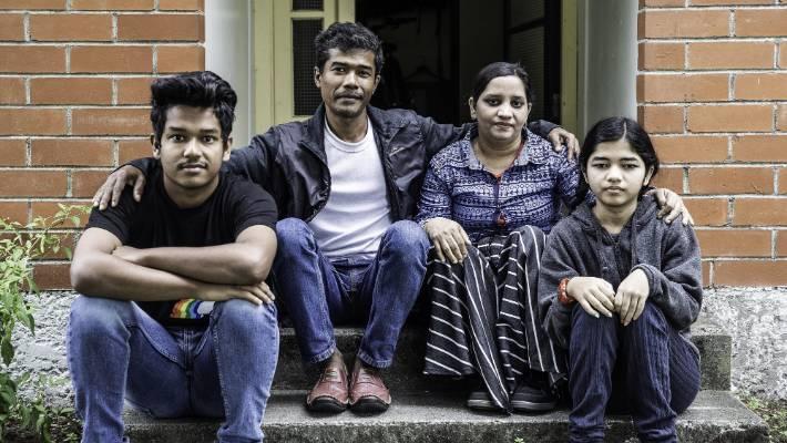 The Norbasha family came to New Zealand from Myanmar last year. From left: Mohammed Norbasha, Shenenas Norbasha, Akbar Bach Shah Norbasha and Zahara Norbasha.