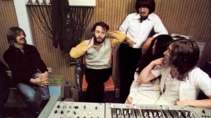 The Beatles in the studio working on their final album Let It Be