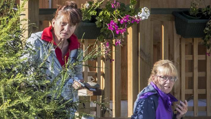 Ingrid Jander, left, and Jilleen Anderson at Jander's crib in Naseby, Central Otago.