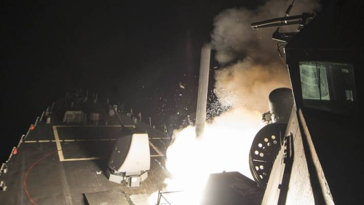 A cruise missile is fired by a US guided-missile destroyer