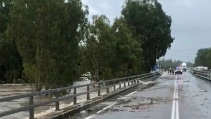 Raging floodwaters in the Townsville suburb of Bluewater
