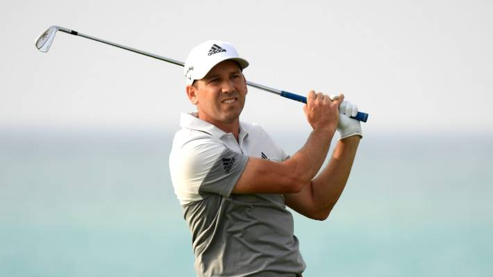 Sergio Garcia Spain, pictured on the tea during the first round, was disqualified in the third round of Saudi International tournament for green damage.