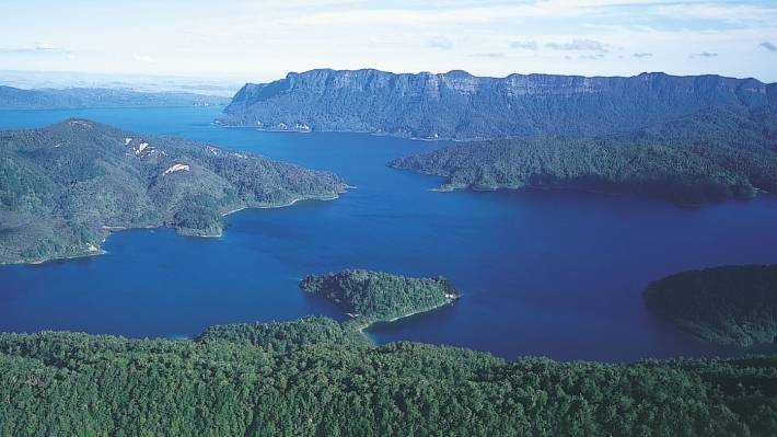 Lake Waikaremoana in the Te Urewera region. The lake was formed by a landslide more than 2000 years ago.