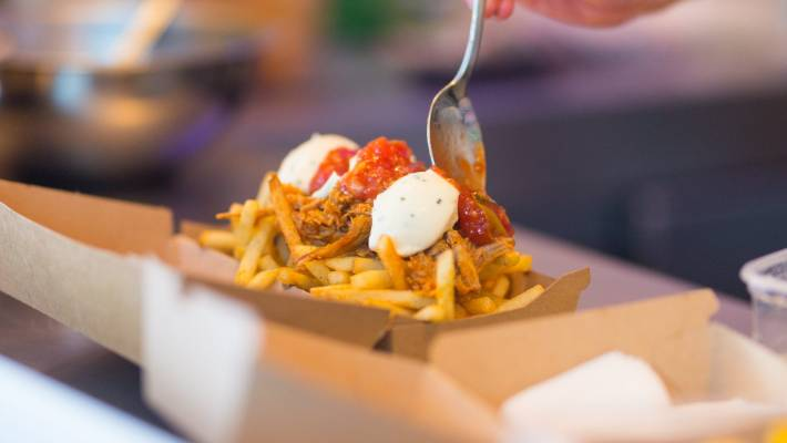 Loaded fries are one of the American style items on the menu.