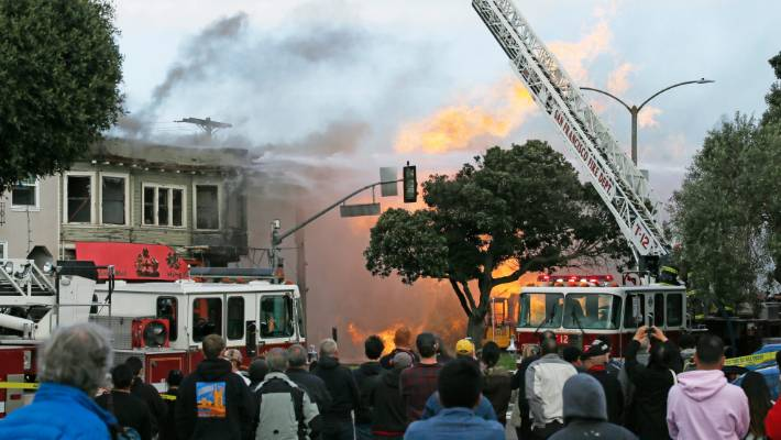 A Gas Explosion in San Francisco Damaged Five Buildings