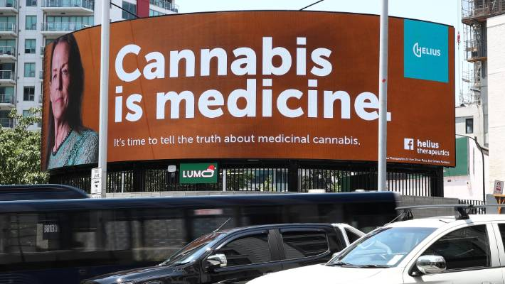 One of the billboards which caused the trouble. Helius Therapeutics maintained cannabis was a medicine, but the Advertising Standards Authority disagreed.