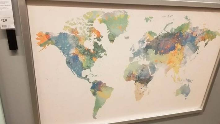 Another world map without New Zealand, this time in an Ikea store in the US.