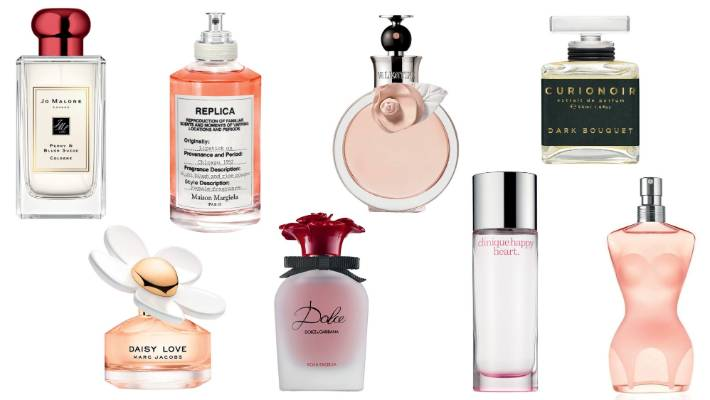 L to R: Jo Malone London Peony & Blush Suede cologne, $246 for 100ml with limited edition red cap; Marc Jacobs Daisy Love EDP, $91 for 30ml; Maison Margiela Replica Lipstick On EDT, $187 at Mecca for 100ml; Dolce & Gabbana's Rosa Excelsa EDP, $103 for 30ml; Valentino Valentina EDP, $116 for 30ml; Clinique Happy Heart, $103 for 50ml; Curionoir Dark Bouquet extrait de parfum, $265 for 50ml; Jean Paul Gaultier Classique EDT, $145 for 50ml.