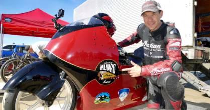 Lee Munro gets ready to ride the Spirit of Munro bike at Oreti Beach during the Burt Munro Challenge on Friday.