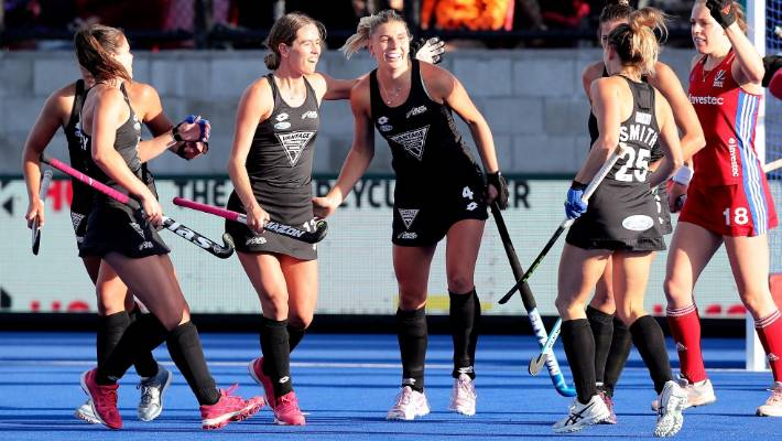 Olivia Merry congratulates all Black Sticks teams after she has visited her opening goal. game.