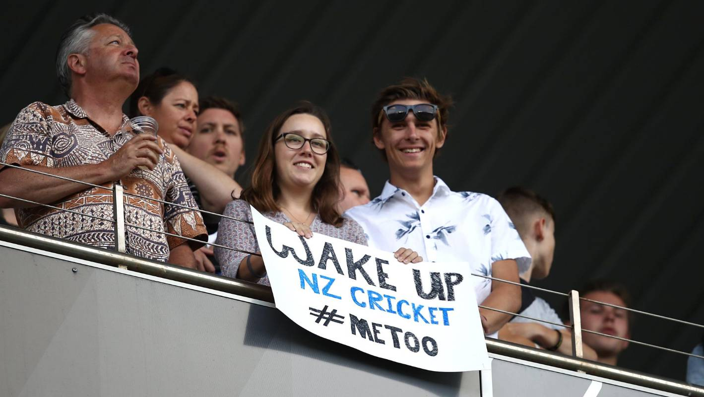 protest banners at eden park over black cap scott kuggeleijn and nz cricket. Black Bedroom Furniture Sets. Home Design Ideas