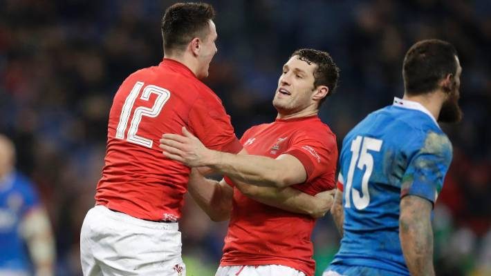 Owen Watkin, left, scored one of two tries for Wales, who equalled their record win streak of 11 with victory over Italy.