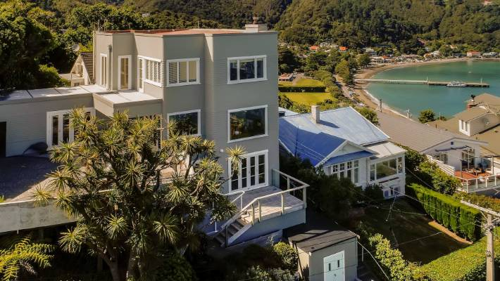 """An aerial view of what is thought to be the """"only"""" art deco house in Days Bay."""
