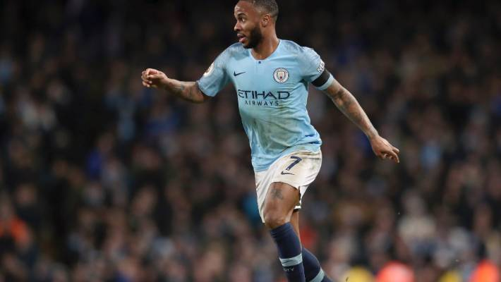 Manchester City's Raheem Sterling netted twice against Chelsea