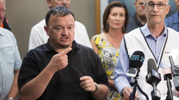 NZ Sign Language Interpreter Paul Palmer at a media standup at the Tasman District Council offices.