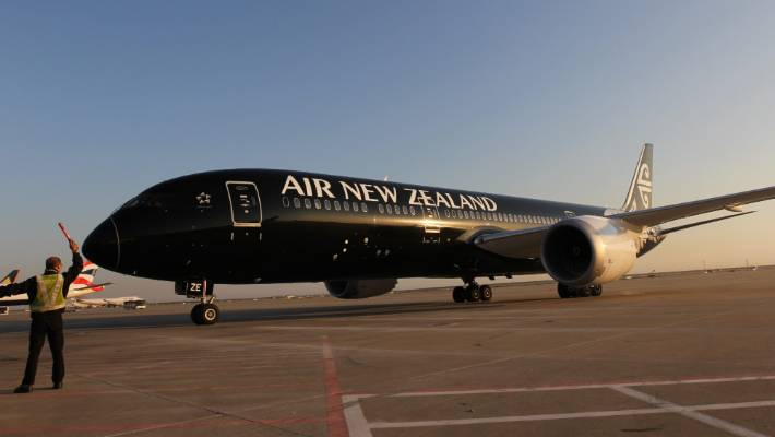 Air New Zealand's first 787-9 Dreamliner parked at Shanghai Pudong Airport in 2014 during its inaugural flight from Auckland to Shanghai.