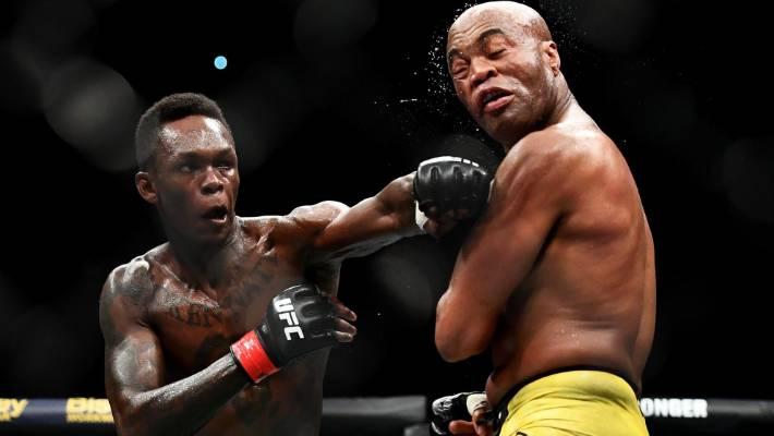 Israel Adesanya, left, defeated Anderson Silva in his last fight.