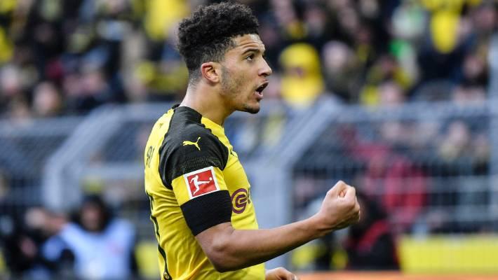 Dortmund winger Jadon Sancho celebrates after scoring in a 3-3 draw with Hoffenheim last weekend