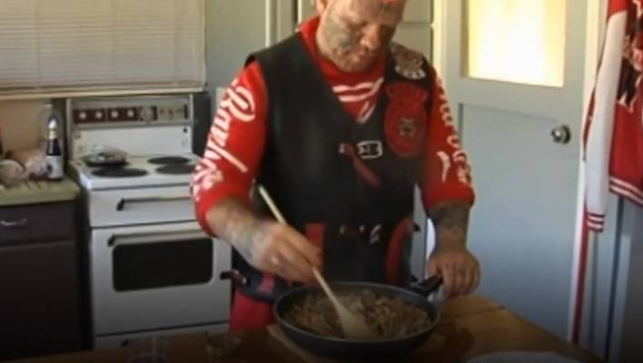 A Mongrel Mob member is promoting healthy eating on a popular Facebook group.