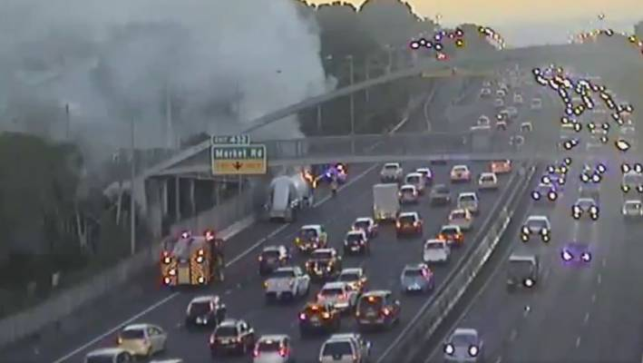 Truck fire, 10-car crash on Auckland's southern motorway lead to