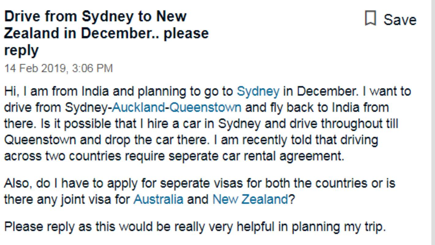 Tourist ridiculed online for asking how to drive from Sydney