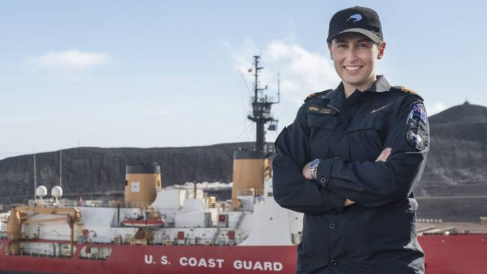 Royal New Zealand Navy Lieutenant Sophie Going spent time observing aboard the ship to prepare to navigate a New Zealand naval ship to make the trip behind the Polar Star in the future.