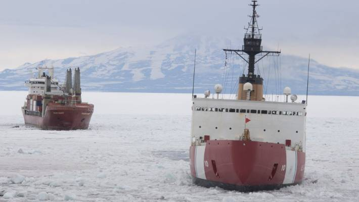 Polar Star escorting cargo vessel MV Ocean Giant, the ships at their closest travelled 8 metres apart.