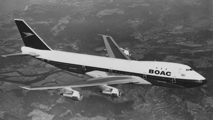 British Overseas Airways Corporation flying above the United Kingdom on 7 April 1971.