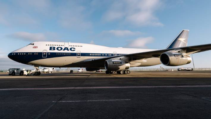 As part of the celebrations for its 100-year anniversary, British Airways has begun painting four of its aircraft in retro designs. This 747 has been given the BOAC livery from 1964 to 1974.