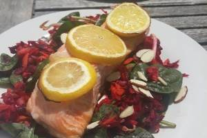 Salmon and rainbow salad - that's lunch sorted.