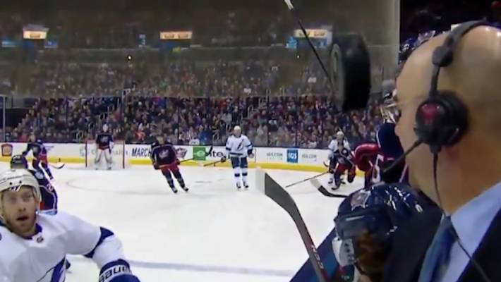 NHL: Commentator Pierre McGuire lucky to avoid being struck by errant puck