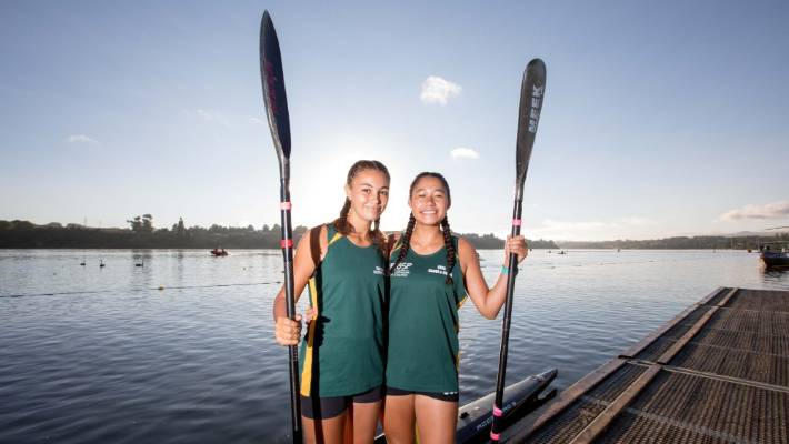 Cook Island kayakers Jade Tierney, left, and Genesis Ngatikao were thrilled to share the same body of water as their idol, Lisa Carrington, at the national champs in Lake Karapiro on the weekend.