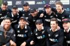 Happy campers: the Black Caps celebrate their 3-0  series win over Bangladesh, their last ODI until the World Cup in June.