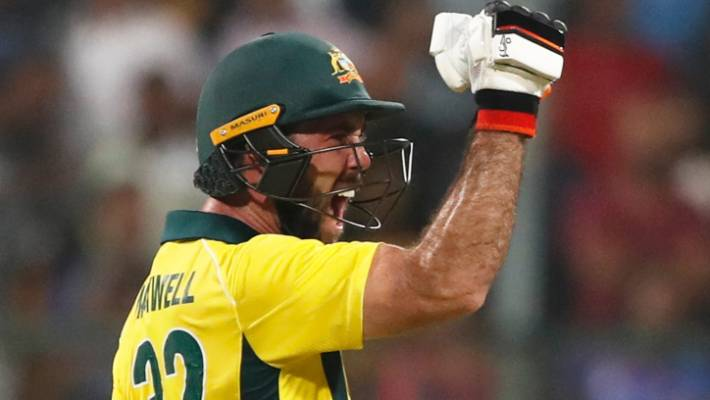 Australia's Glenn Maxwell celebrates after winning the second T20 second in India.