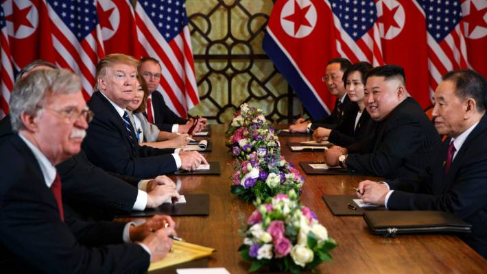 President Donald Trump speaks during a meeting with North Korean leader Kim Jong Un