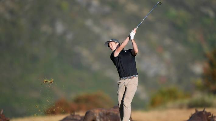 Harry Bateman started with two bogeys, but ended up in hot spot at The Hills in Arrowtown.