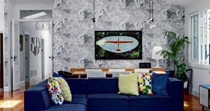 The plane artwork in the Fulcher living room represents Mark's regular travel for work.