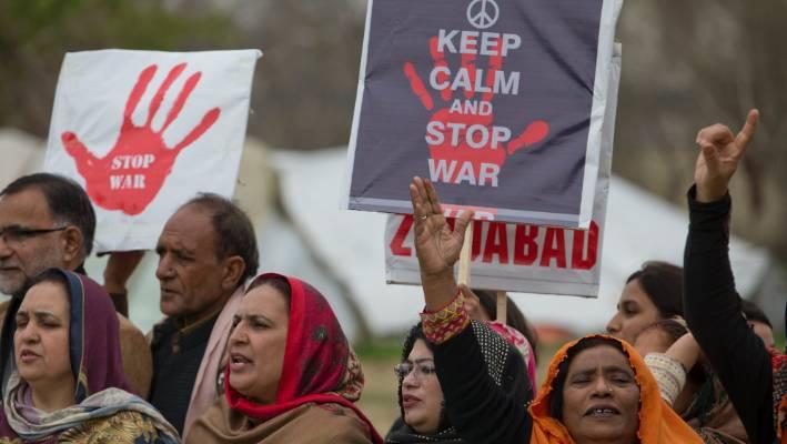 Pakistani Kashmiris rally against India in Islamabad, Pakistan.