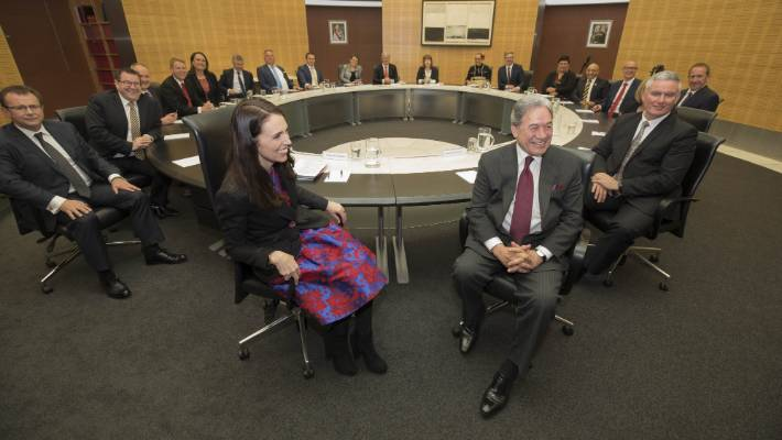 Cabinet tables rarely finish the term in the same state they started. PM Jacinda Ardern and Winston Peters are front and centre during the first cabinet meeting of the new Labour/NZ First government.