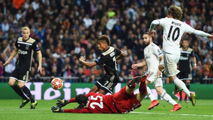 David Neres slots Ajax's second goal against Real Madrid