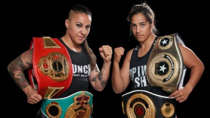 Geovana Peres, left, defeated Lani Daniels by split decision over 10 rounds when the pair met a year ago.