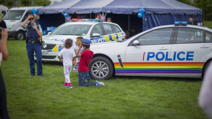 The pride themed Police car on display at the Pride Fair in 2018. Wellington Pride drew controversy when it said uniformed police would be allowed in its parade.