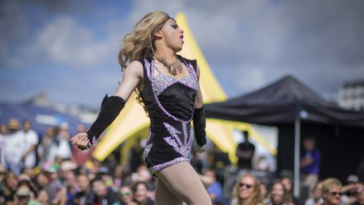 Wellington Drag Queen 'Kelly Fornia' from the Gag Drag Collective performs on stage at Out in the Park 2018.