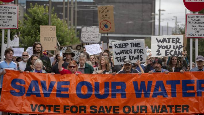 At least 2000 people took to the streets of Christchurch on Saturday to protest a Canterbury water bottling plant.