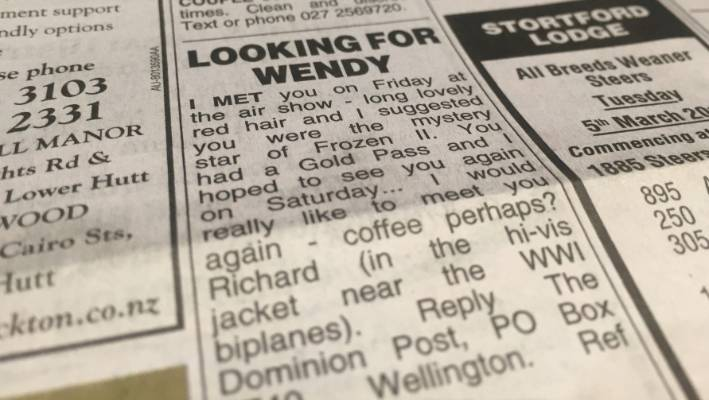 Richard took out a classified ad in the Dominion Post in his quest to find Wendy.