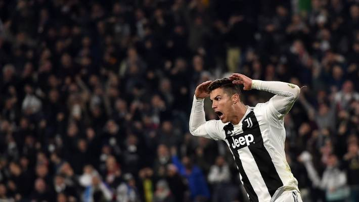 Cristiano Ronaldo celebrates with Simeone's 'big balls' gesture