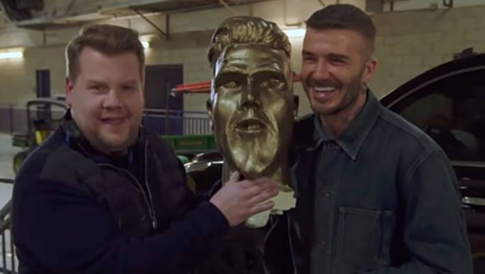 David Beckham pranked by James Corden at LA Galaxy 'statue' reveal